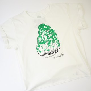 刨冰 Kakigori Shaved ice Women's YURUFUWA t-shirt Melon White