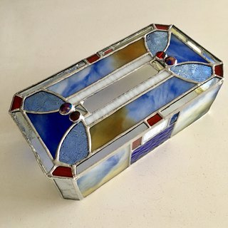 Tissue Box Case Blue & White Glass Bay View