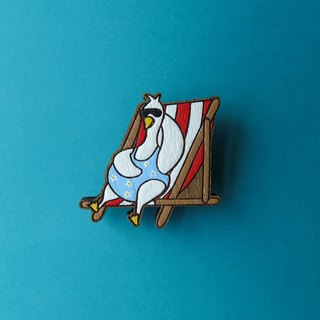 Wooden Brooch Duck Sleep Sunbathe
