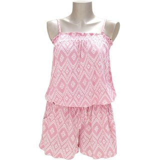 New! Ikat print camisole all-in-one <Pink>