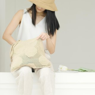 Crochet Polka Dot Tote Bag | Almond