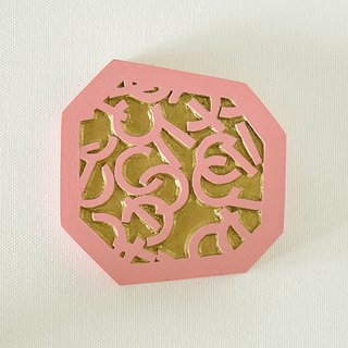 Geometric Hand Mirror Mini (arch and line - pink almond)