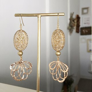 Gold parts mix earrings