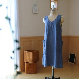 100 cm length A line one piece / cotton chambray