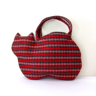New woolen cat bag Red and gray stripe
