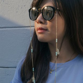 Sunglasses chain Amazonite with little feather.