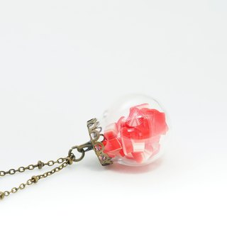 """OMYWAY""Hand Made Glass Globe Necklace – Strawberry Necklace"