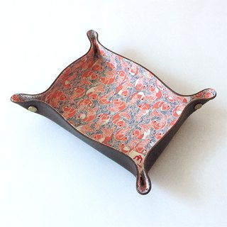 "Tanned Leather tray with Japanese Traditional Pattern, Kimono ""Silk"""