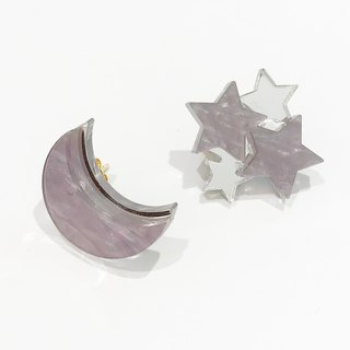 Moon and Star Earrings / Earrings - Gray