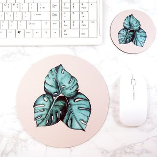 Natural Desk Accessories Decorative Green Mousepad Monstera Office Inspiration