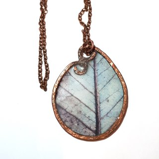 Leaf resin necklace, unique stained glass pendant