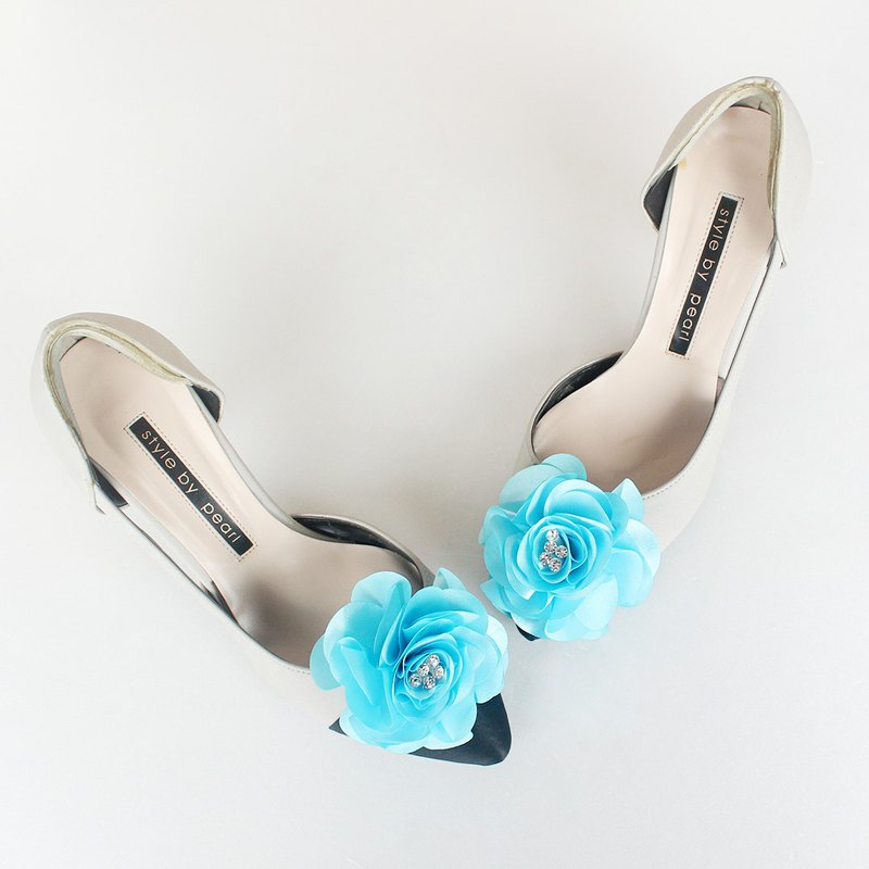 Decorative Baby blue flower Bridal Shoe Clips  for Wedding Party