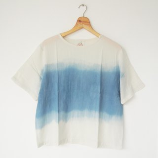Indigo dip dye short-sleeve shirt / middle