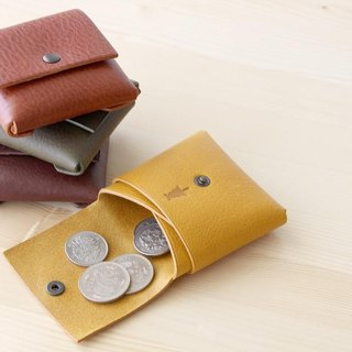 1 piece leather coin case brown / Italian leather coin case # brown