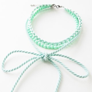 Mint three layers choker