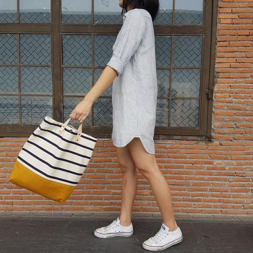 New Stripe Mustard Canvas Tote // Daily bag // Shopping bag // Messenger bag