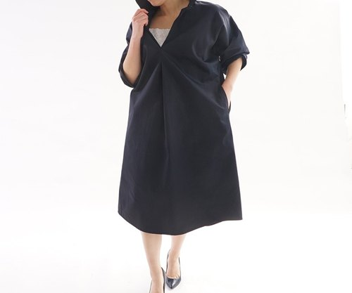 <Limited price> expose downy cotton high density shirt Skipper dress / black a70-3