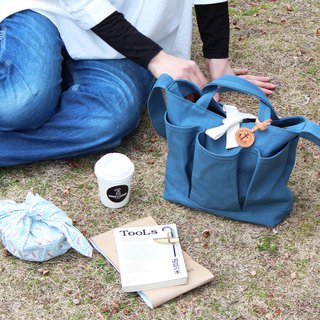nap: Blue gray Kurashiki canvas shoulder bag