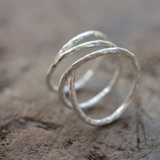 Open wrap silver ring with hammered texture (R0035)