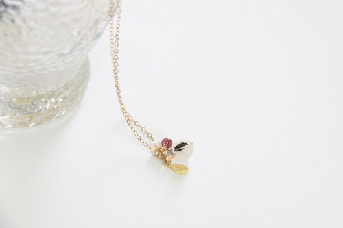 黑发晶 金叶片项链 / Black Rutilated Quartz  14K GF chain necklace pendant
