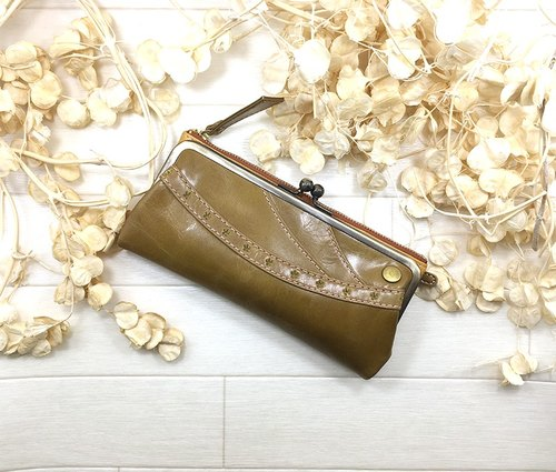 150YE Long wallet leather star spicy border stripe Leather wallet / cute / star / border / striped / leather / long wallet / spoiled dermal packaging / lovely / ming star / side stile / straw pattern / leather / wrapping /