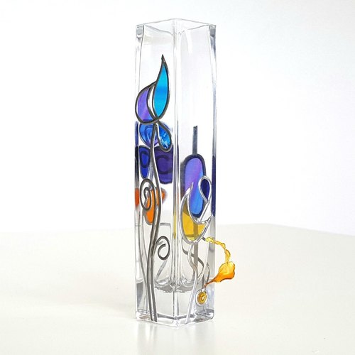 Glass Art Floral Bud Square Vase TinkerBell Vase Cool