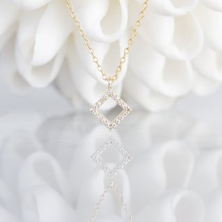 【14 KGF】 Necklace, Tiny CZ - Square -
