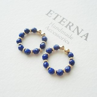 Lapis Lazuli and metal beads, tiny hoop earrings