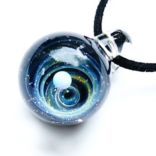 Gold vortex world of the universe. White opal filled glass pendant star planetary universe