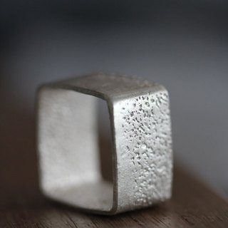 Handmade square ring with textured surface (R0039)