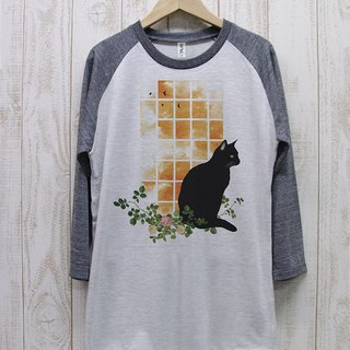 Standing black cat Raglan Seven-quarter sleeve window side SUNSET (Heather white × Heather black) / RPT 038