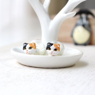 Scottish fold cat earrings, Double sided Earrings, Glass Ball Earrings