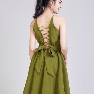 Party Dress Backless Dress Crisscross Back Evening Gown Olive Green Dress