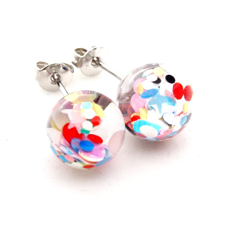 """爱家作- OMYWAY""DIY 飘浮 水  玻璃球 耳针 耳环 耳勾 垂挂 耳夹 Water - Glass Globe- Earrings- Drop Earrings - Drop Clip on Earrings - Clip Earrings"
