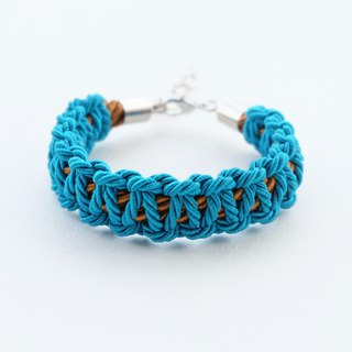 Peacock blue / Chocolate brown macrame bracelet