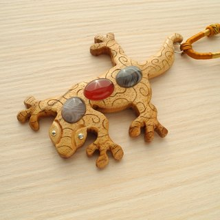Wooden inlaid gecko pendant with agate and carnelian