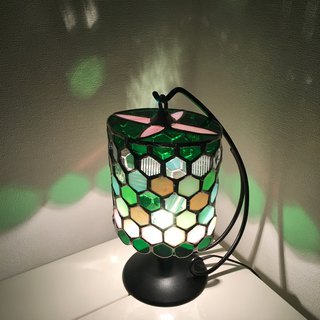 Table lamp Jewel Knight Green & Pink Glass Bay View