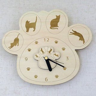 Paws watch cat with silhouette (wooden) / wall clock