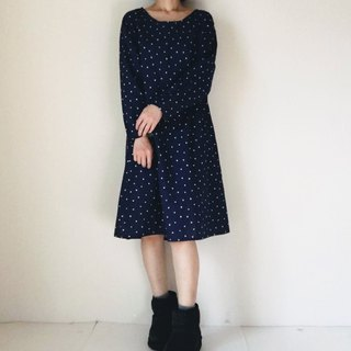 Triangular double gauze long-sleeved one-piece dress Navy blue