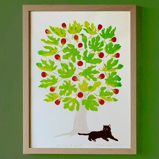 Cat of silk screen prints (Framed) | promise land of # 001