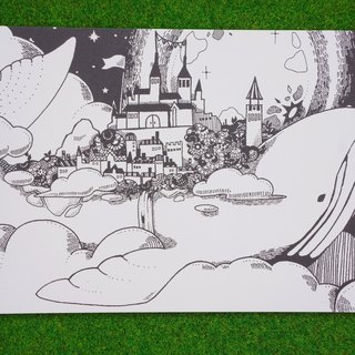 Post card (whale island and castle)