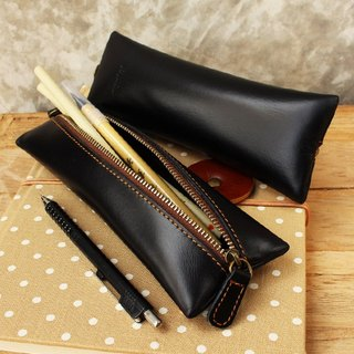 Pencil case - Flat - Black (Genuine Cow Leather) / Pen case / Accessories case