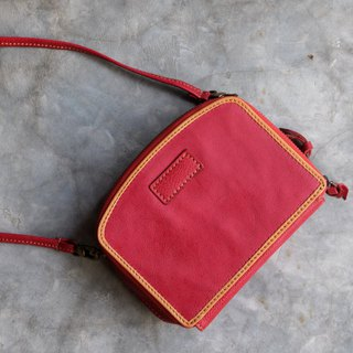Box Zipper Leather Clutch Bag / Wallet / Red