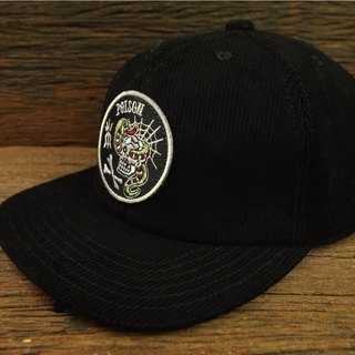 "【METALIZE】""POISON"" Corduroy Baseball Cap ""POISON""黑色灯心绒复古棒球帽"