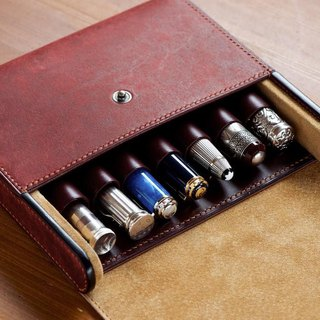 Fountain pen case with seven sewing seam sewing