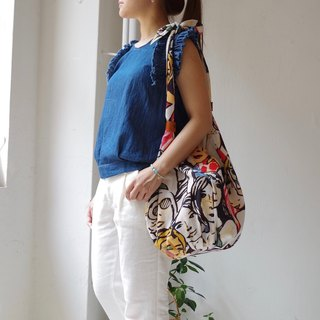 Face print shoulder knot shoulder bag
