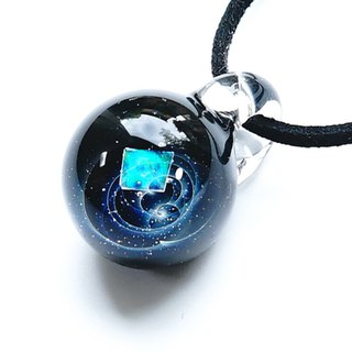 The world of shine. Pyramid cut glass pendant universe