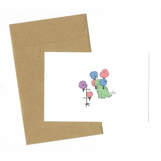 Dinosaur Cotton Candy Card with envelope
