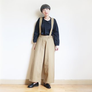 2WAY suspenders wide pants : khaki
