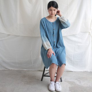 linnil: blue blue sea dress - natural dye indigo with linen fabric